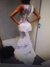 dress,white,ruffle,formal,bridal,detailing