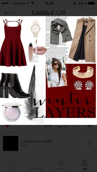 dress red dress red outfit idea outfit scarf boots booties shoes trench coat fashion watch vintage