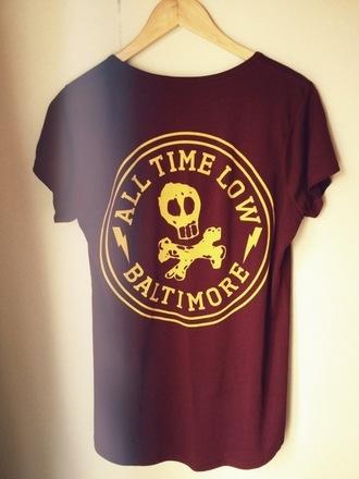 shirt all time low burgundy baltimore vans warped tour yellow