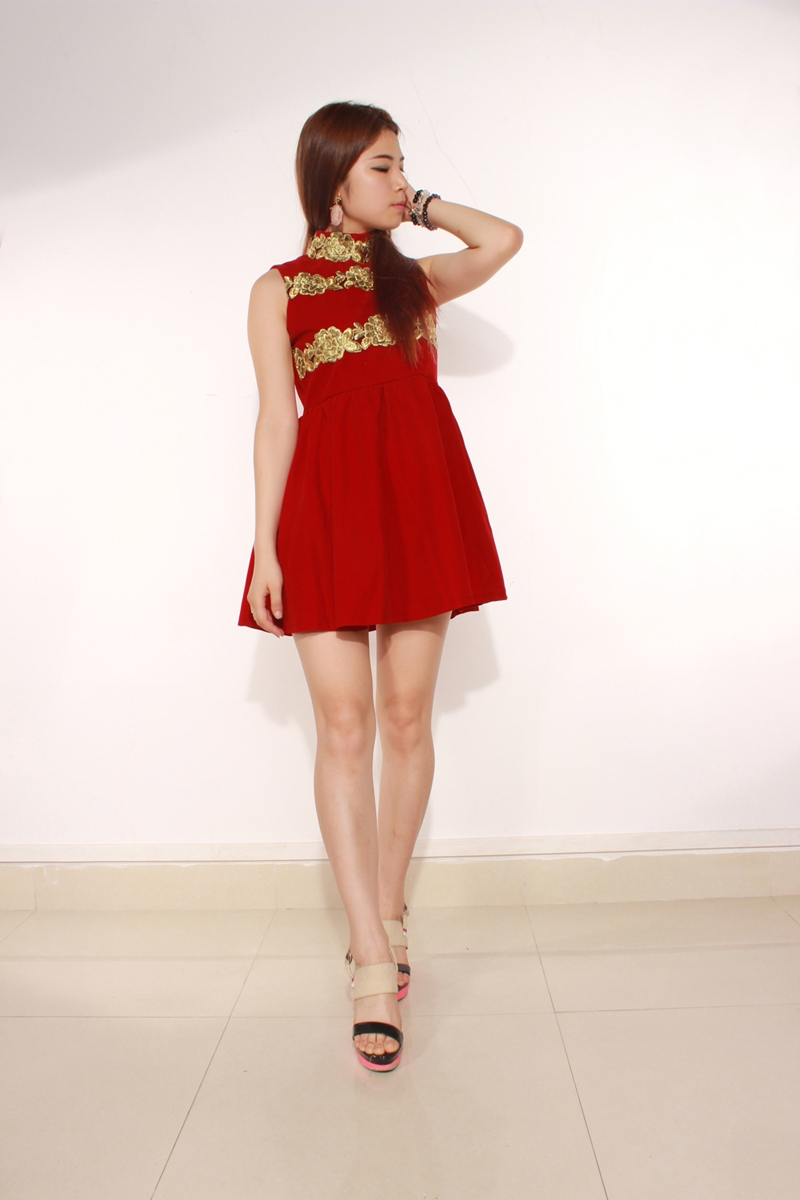 Zanzea Elegant Lady Red Cocktail Corduroy Pleated Dress Free Shipping!  - US$19.67
