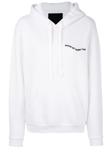 Local Authority hoodie embroidered women white cotton sweater