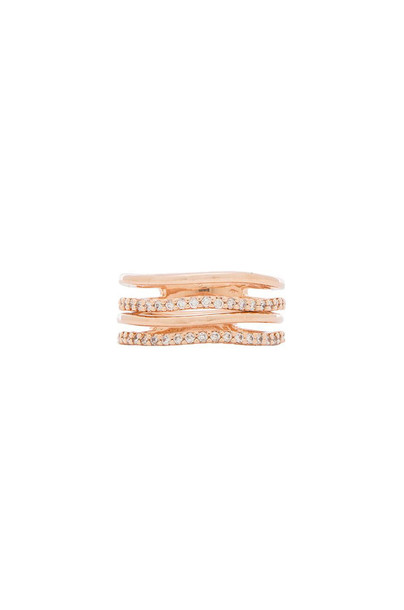 Wanderlust + Co Crystal and Bar Stack Ring Set in gold / metallic