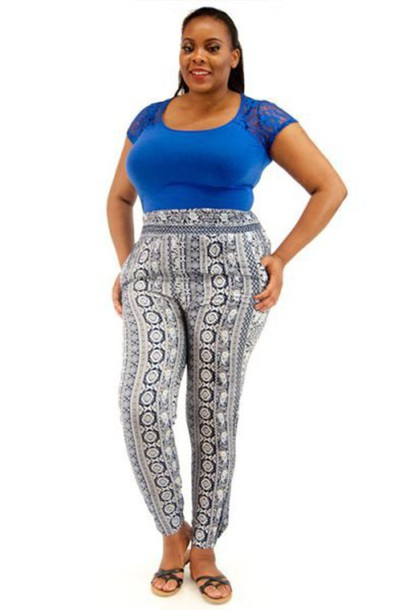 f4578dc586c pants plus size plus size pants palazzo pants printed pants harem pants  high waisted