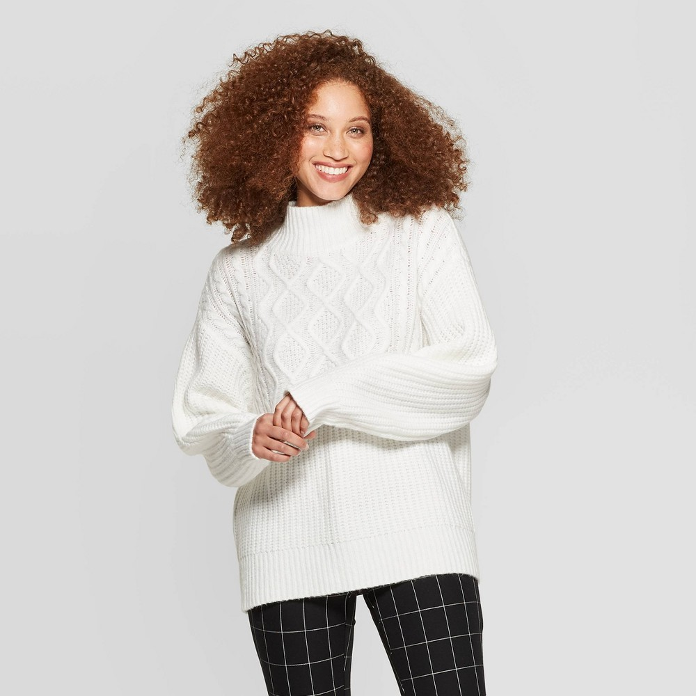 Women's mock turtleneck pullover sweater - a new day&™ off-white m