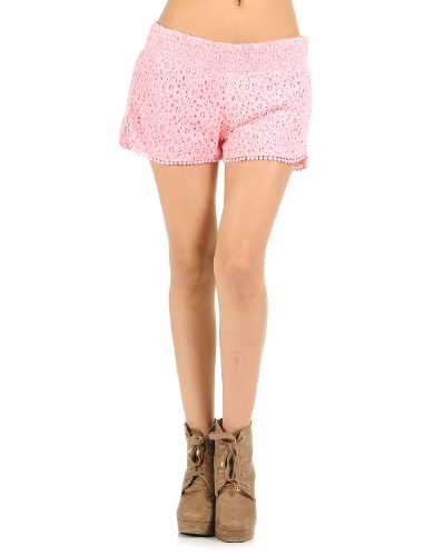 Pink Free Spirit Crochet Shorts | $11.50 | Cheap Trendy Shorts Chic Discount Fashion for Women | Mod
