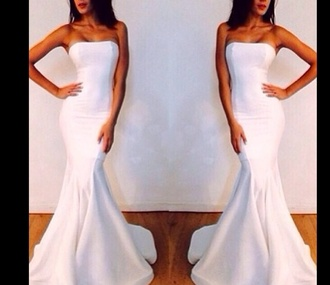 dress celebrity style wedding dress evening dress ball gown dresses mermaid prom dresses mermaid wedding dresses white dress strapless wedding dresses bustier dress both dressess. strappless. white mermaid mermaid prom dress