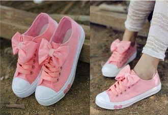 shoes pink shoes cute pink pink bows bows coral pink converse