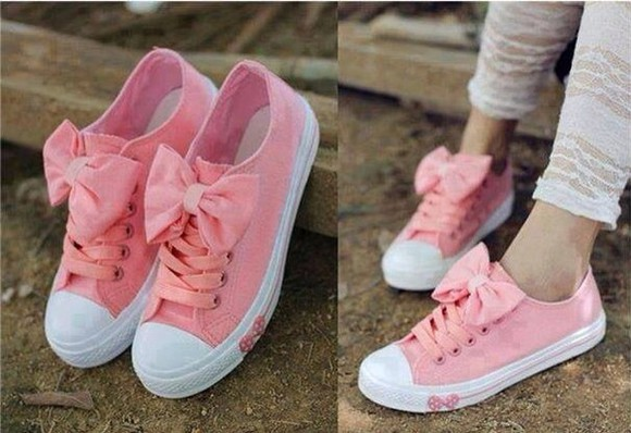 shoes coral pink shoes cute pink pink bows bows