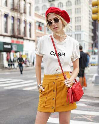 skirt tumblr mini skirt yellow yellow skirt t-shirt white t-shirt bag red bag hat beret