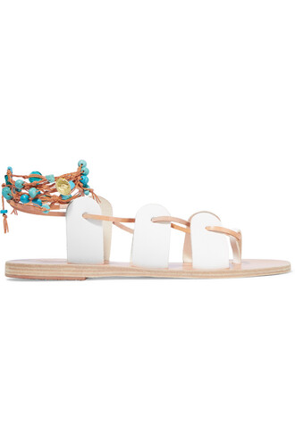 embellished sandals leather sandals lace leather white shoes