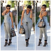 blouse,jumpsuit,clothes,romper,cloth,grey,burberry,mimi g style,freeloader jumpsuit,racerback,bag,black and grey
