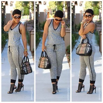 blouse jumpsuit mimi g style freeloader jumpsuit racerback grey bag