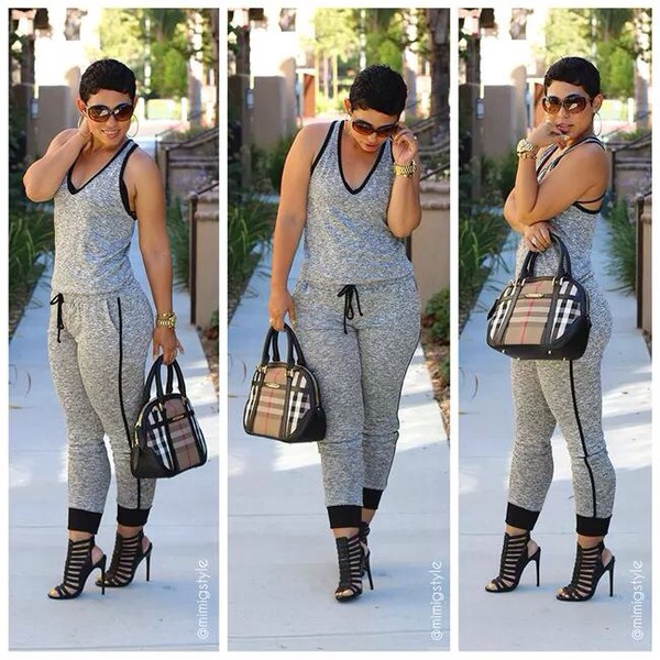 blouse jumpsuit clothes romper cloth clothes grey burberry mimi g style freeloader jumpsuit racerback bag black and grey