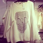 sweater,skull,knit,white,oversized sweater,crochet