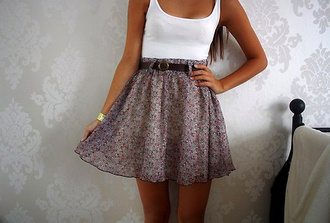 dress skirt top girl girly liberty summer cute floral flowers flowey fashion floral print skirt tank top white belt high waist skirts grey shirt skater skirt pretty floral skirt