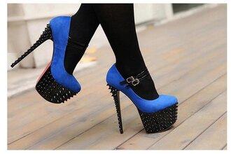 shoes high heels blue black studs scarpe con tacco tacchi borchie scarpe con le borchie blu nero