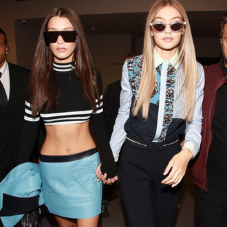 top tumblr long sleeve crop top crop tops black top striped top stripes skirt mini skirt blue skirt sunglasses black sunglasses shirt printed shirt pants black pants cat eye gigi hadid bella hadid celebrity style celebrity model