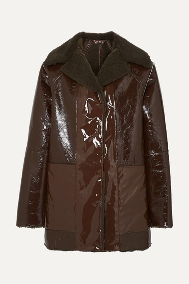 Kassl Editions - Reversible Lacquered Textured-leather And Faux Shearling Coat - Brown - Reversible Lacquered Textured-leather And Faux Shearling Coat