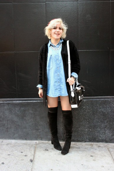 broke hell blogger cardigan thigh high boots denim satchel bag