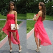 dress,high-low dresses,bag,belt,shoes,shorts,clothes,high low,instagram,maxi dress,pink,sleeveless,flowy,cute dress,mini dress,strapless dress,neon dress,pink neon,pink dress,shirt,pink party dress,short dress,prom dress,high low dress,prom,hot pink,amazing,cute,strapless,summer dress,slit dress,high heels,big purse,hair accessory,pink high low dress