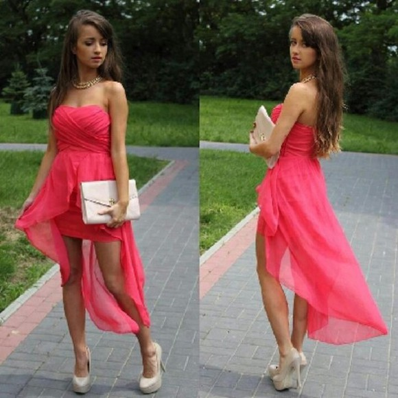 dress coral cute pink dress neon high low dress prom hot pink amazing strapless high-low dresses clothes high-low instagramfashion maxi dress pink party dress, short dress
