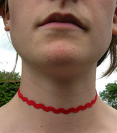 jewels,red terylene,choker necklace,ric rac ribbon,ribbon choker,absolutemarket,red choker,etsy