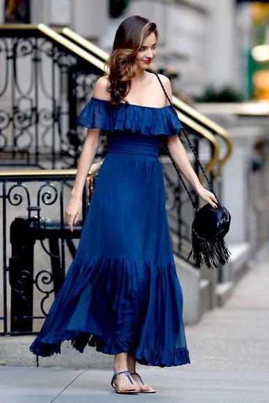 miranda kerr blue dress off the shoulder dress maxi dress flowy simple