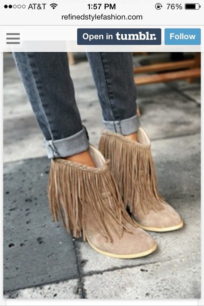 shoes fringes boots