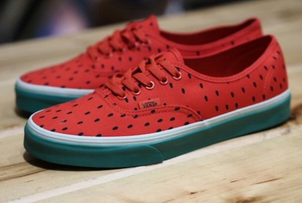 shoes vans watermelon print print melon green sneakers fruits colorful