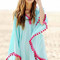 Blue oversize pom pom chiffon poncho cover up dress