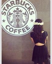 dress,little black dress,flower crown,cut-out,short sleeve