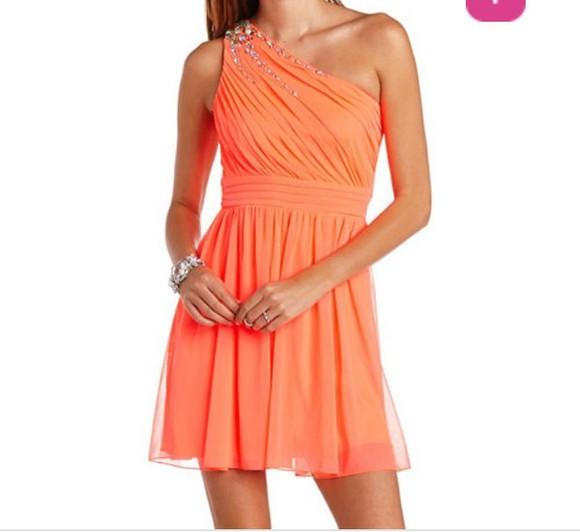 dress one shoulder neon orange orange dress