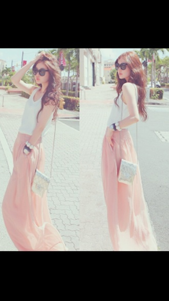 skirt pastel pink skirt pink skirt cute style white top silver side bag long skirt maxi skirt pink maxi skirt chiffon blouse chiffon skirt pretty outfit casual silver bag white pink pastel colour vintage sunnies trendy stylish outfits maxi dress prom dress long prom dress long casual maxi skirt long sleeve dress outfit summer outfits fall outfits spring outfits winter outfits tank top bag