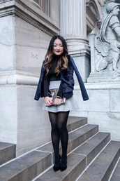 tineey,blogger,sweater,jacket,bag,skirt,tights,shoes,blue jacket,mini skirt,high heel pumps,metallic clutch,clutch