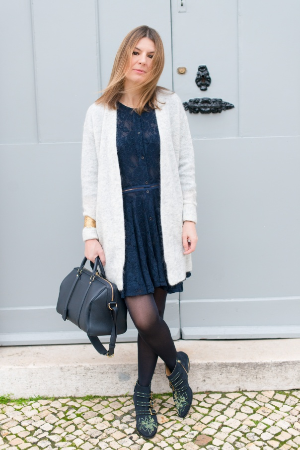 acne raya short dove cardigan | Blog Mode - The Working Girl