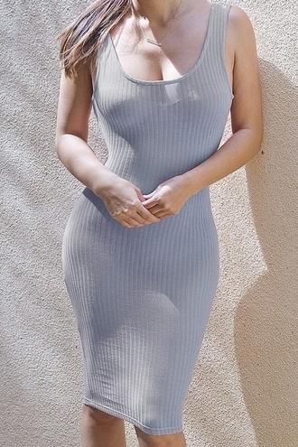 dress zaful bodycon bodycon dress grey dress cotton dress summer dress below knee dress