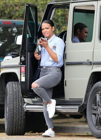 shirt jeans christina milian sneakers streetstyle spring outfits