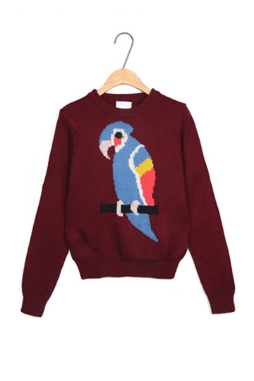 Lovely Owl Printed Sweater In Burgundy [FKBJ10337]- US$29.99 - PersunMall.com