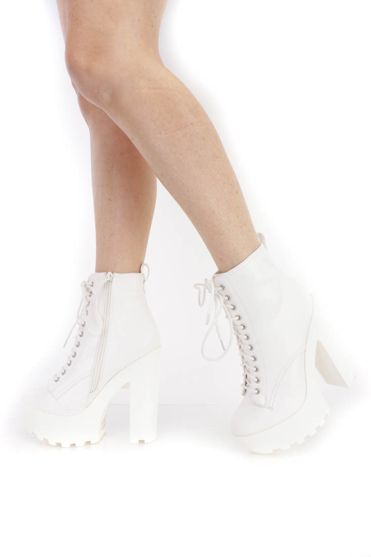 White Lace Up Traction Sole Booties