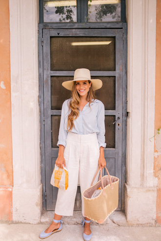 shirt hat tumblr blue shirt pants white pants culottes espadrilles bag sun hat shoes