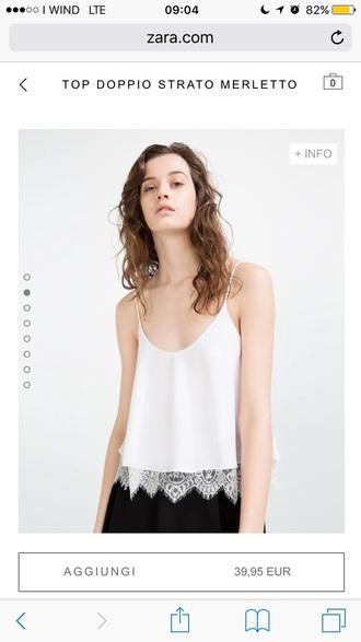 blouse zara zara skirt white lace white blouse cheaper version top crop tops cute style