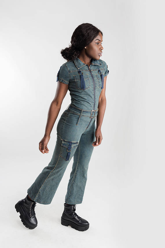 ee02edd0cef8 Vintage denim flaired overalls   90s wide leg jeans dungarees ...