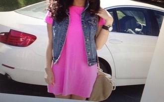 dress bright pink bright pink simple tshirt dress