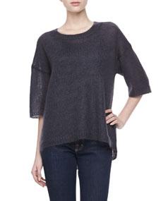 Mohair Half-Sleeve Sweater, Graphite