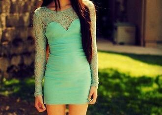 dress lace dress lace mint fashion mint dress green homecoming dress long sleeve dress short dress lacd