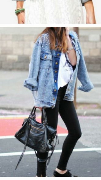 jacket denim jacket studded jacket leather bag white converse embellished denim embellished embellished jacket blue jacket jeans black jeans shoes black shoes bag balenciaga bag balenciaga black bag handbag top white top sunglasses black sunglasses streetstyle spring outfits white shirt black oxfords blogger