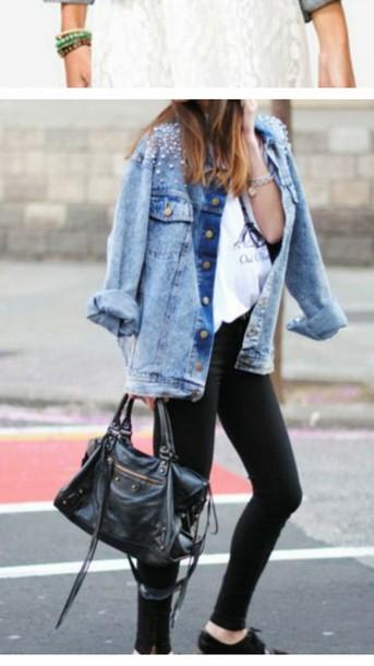 jacket denim jacket studded jacket leather bag white converse