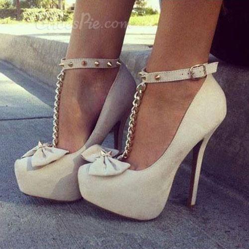 Bowknot Ankle Strap Platform Heels