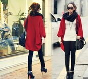 coat,red,cape,bag,shoes,pants,leggings,jeggings,cardigan,red coat