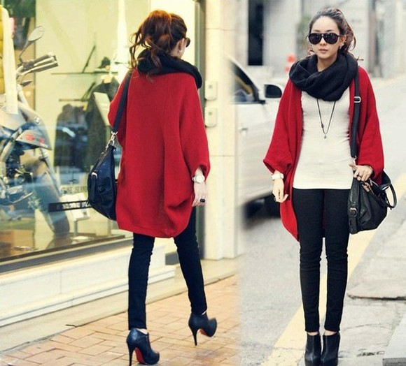 cape coat red bag shoes